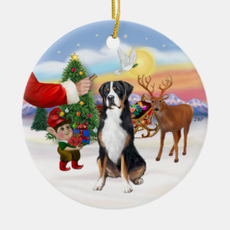Treat for a Greater Swiss Mountain dog Christmas Ornament