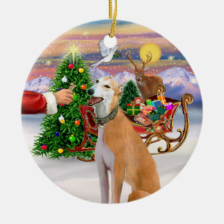 Treat for a Light Red Greyhound Round Ceramic Decoration