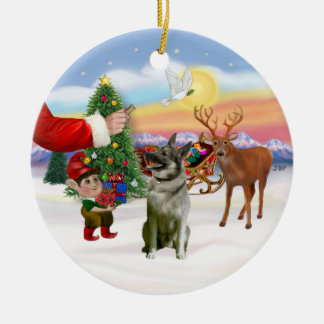 Treat for a Norwegian Elkhound Christmas Ornament