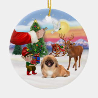Treat for a Pekingese (#1) Round Ceramic Decoration