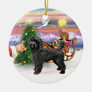 Treat for a Portuguese Water Dog (black, stand) Christmas Ornament