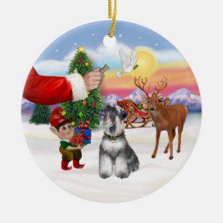 Treat for a Schnauzer (natural ears) Christmas Ornament