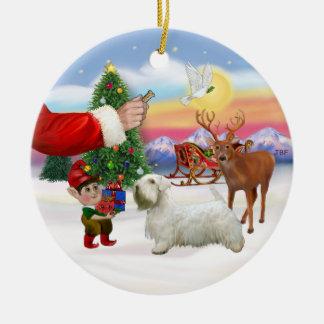 Treat for a Sealyham Terrier Round Ceramic Decoration