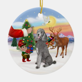 Treat for a Silver Standard Poodle Christmas Ornament
