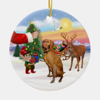 Treat for a Vizsla Round Ceramic Decoration