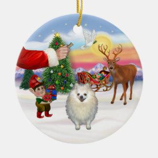 Treat for a White Pomeranian Christmas Ornament