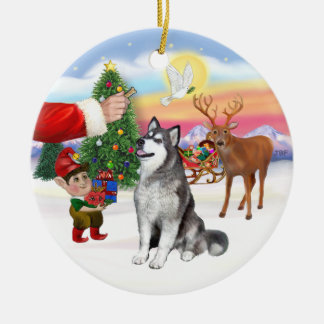Treat for an Alaskan Malamute Round Ceramic Decoration