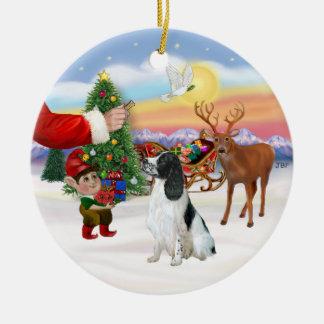 Treat for an English Springer Spaniel Christmas Ornament