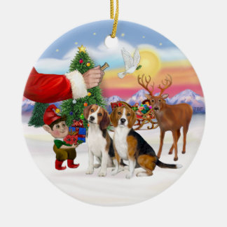 Treat for Two Beagles Christmas Ornament