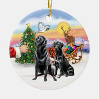 Treat for two Black Labradors Round Ceramic Decoration