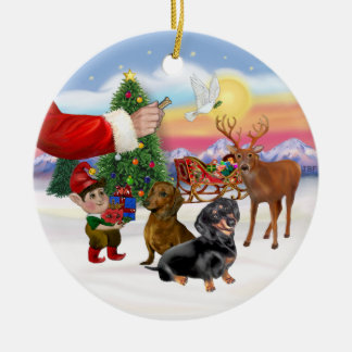 Treat for Two Dachshunds Christmas Ornament