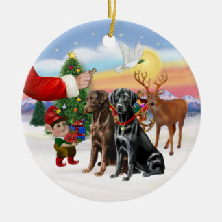 Treat for Two Labradors (Chocolate + Black) Round Ceramic Decoration