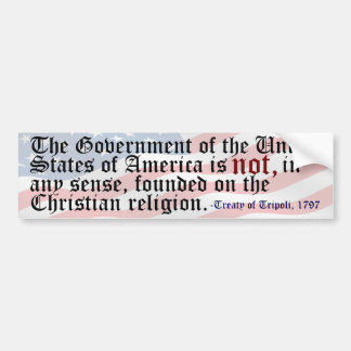 Treaty of Tripoli Freethought Bumper Sticker
