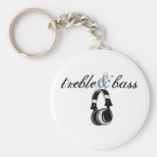treble and bass basic round button key ring