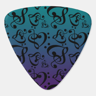 Treble Bass Clef Hearts Music Notes Teal Purple Guitar Pick