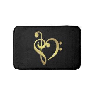 Treble clef and bass clef music heart love bath mats