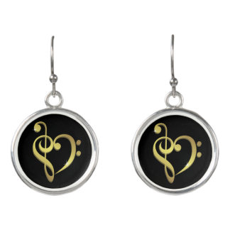 Treble clef and bass clef music heart love earrings
