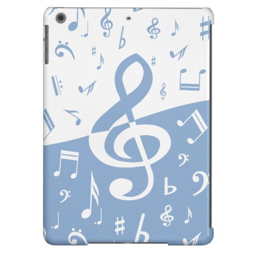 Treble Clef and Music Notes in Sky Blue and White iPad Air Cases
