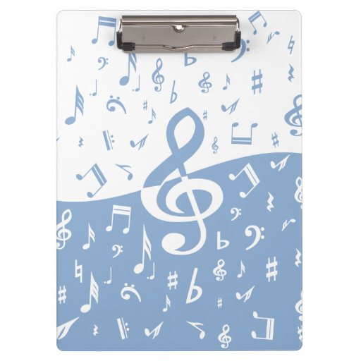 Treble Clef and Music Notes in Sky Blue and White Clipboards
