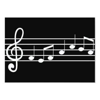 treble clef and notes : sheet music 11 cm x 16 cm invitation card