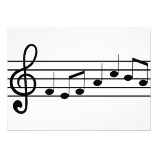 treble clef and notes sheet music custom invitation