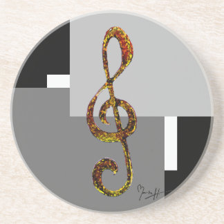 Treble Clef Art - Hand Carved and Digitized Coaster