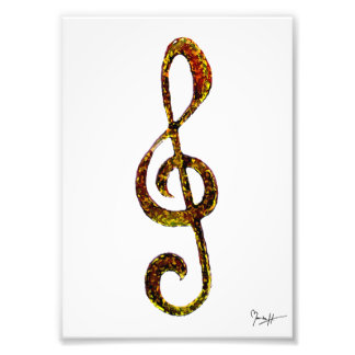 Treble Clef Art - Hand Carved and Digitized Photo Print