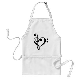 Treble Clef Base Clef Heart Standard Apron