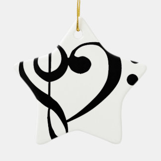 Treble Clef Base Clef Heart Christmas Ornament