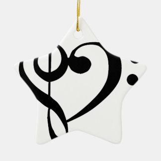 Treble Clef Base Clef Heart Christmas Ornament