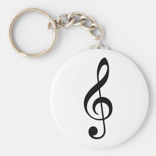 Treble Clef Basic Round Button Key Ring