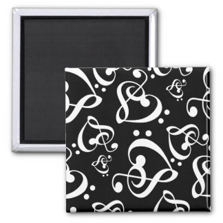 Treble Clef Bass Clef Hearts Music Pattern Magnet