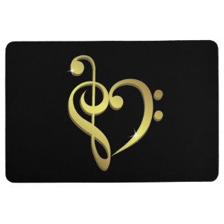 Treble clef, bass clef music heart love floor mat
