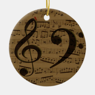 Treble Clef Bass sheet music Christmas Ornament