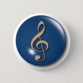 Treble Clef Blue Background 6 Cm Round Badge