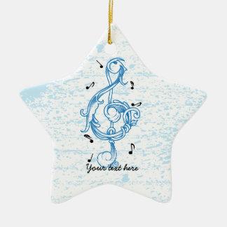 Treble clef blue scrollwork sol note key ceramic star decoration