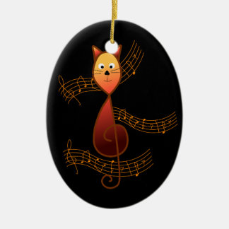 Treble Clef Cat Ceramic Oval Decoration