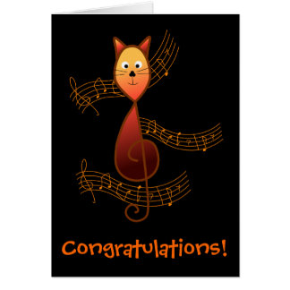Treble Clef Cat Greeting Card