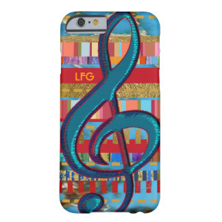 treble-clef & colorful-stripes personalized barely there iPhone 6 case