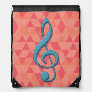 Treble Clef Geometric Triangles Teal and Pinks Cinch Bags