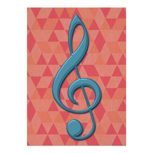 Treble Clef Geometric Triangles Teal and Pinks Poster