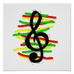 Treble Clef Graphic Black with Red Yellow Green