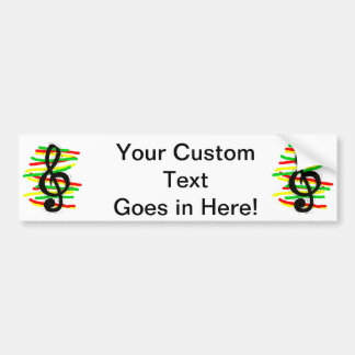 Treble Clef Graphic Black with Red Yellow Green Car Bumper Sticker