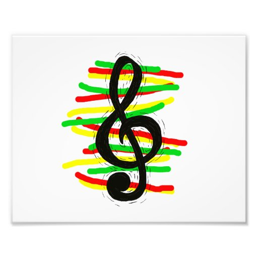 Treble Clef Graphic Black with Red Yellow Green Photo Print