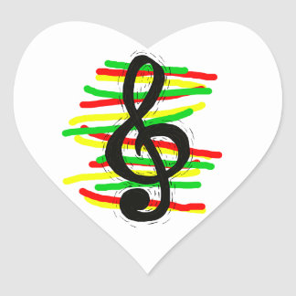 Treble Clef Graphic Black with Red Yellow Green Heart Sticker