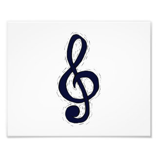 Treble Clef Graphic Design Dark Blue Photo Art