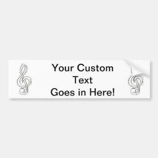 Treble Clef Graphic Design Just outlined Car Bumper Sticker