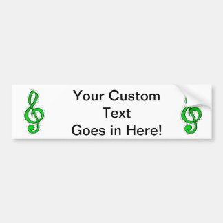 Treble Clef Graphic Design Light Green Bumper Sticker