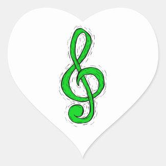 Treble Clef Graphic Design Light Green Heart Sticker