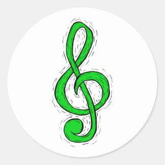 Treble Clef Graphic Design Light Green Round Sticker